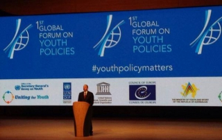 President Illam Aliyev of Azerbaijan addresses the Global Forum on Youth Policy. Photo: Youth Policy Forum