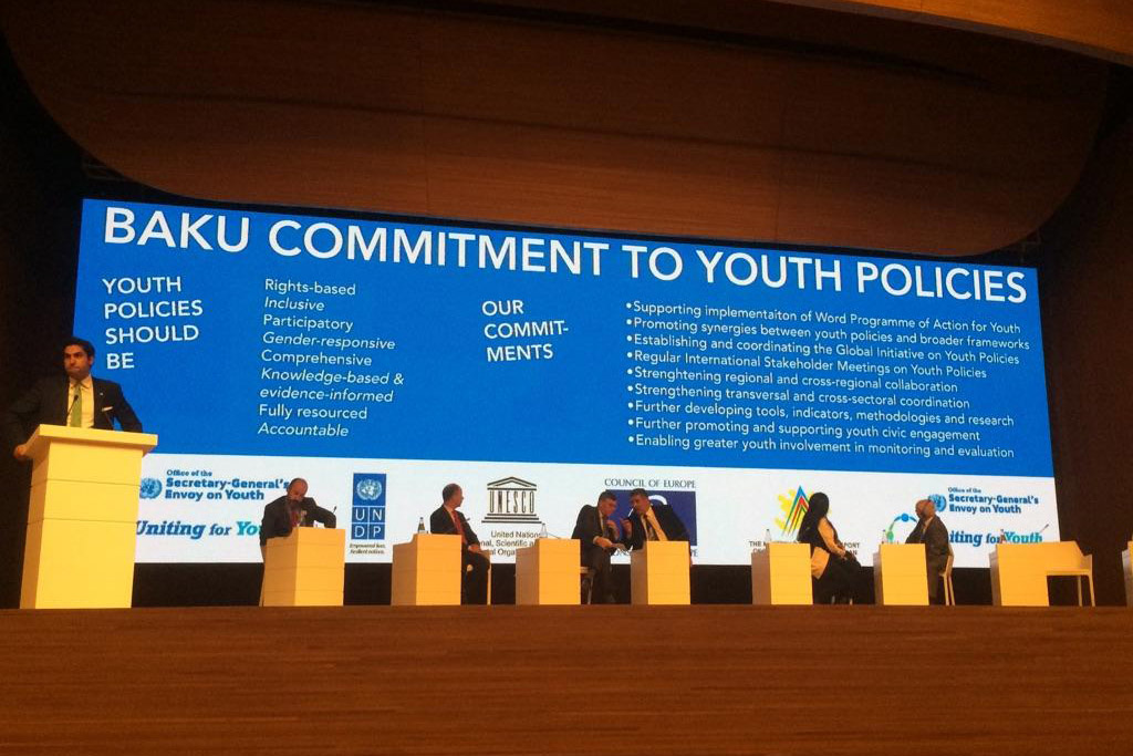 "The UN Secretary-General's Envoy on Youth Ahmad Alhendawi launches the ""Baku Commitment to Youth Policies"" on behalf of all the co-conveners of the First Global Forum on Youth Policies, held in Azerbaijan from 28-30 October 2014. Photo: Youth Policy Forum"