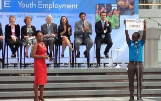 Ahmad Alhendawi speaks at the launch of the Solutions for Youth Unemployment Coalition