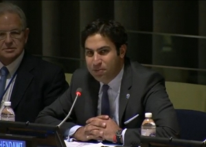 United Nations Youth Envoy Ahmad Alhendawi speaks at the opening of the Sustainable Energy for All Forum