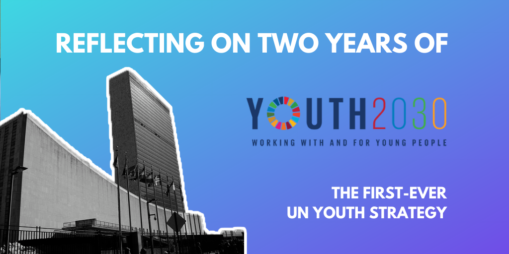 The banner reads: 'Reflecting on 2 years of Youth2030 — the first-ever UN Youth Strategy.'