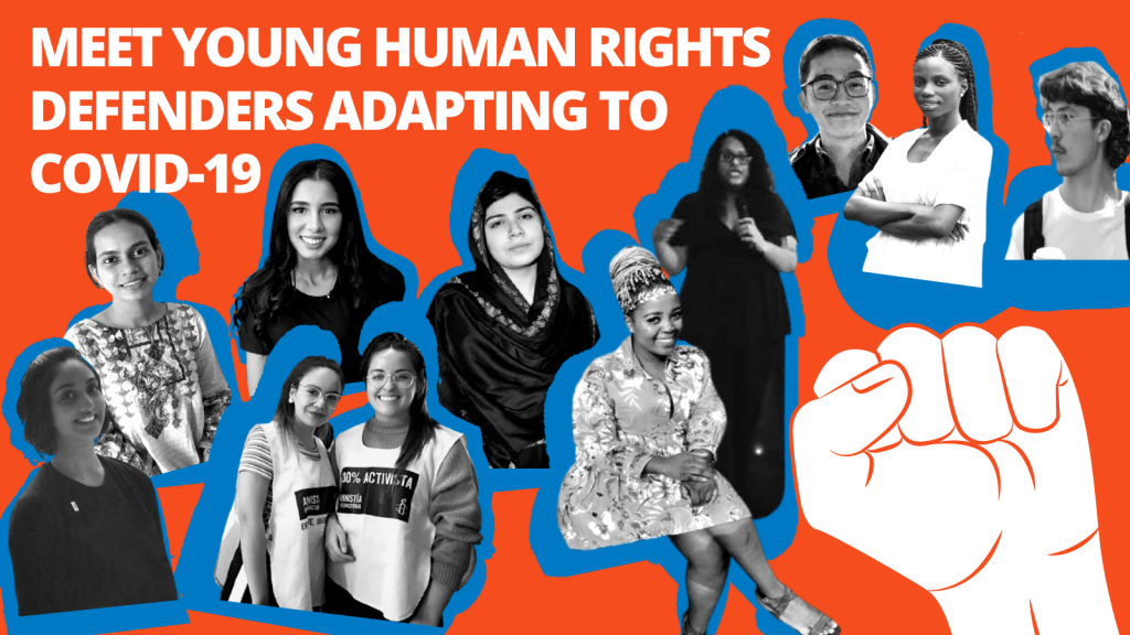 """The banner reads """"Meet Human Rights Defenders Adapting to COVID-19"""" and shows the headshots of ten young people."""